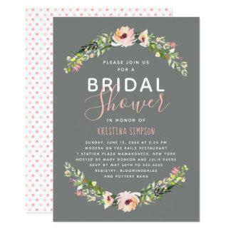 Spring Florals | Bridal Shower | Taupe Card