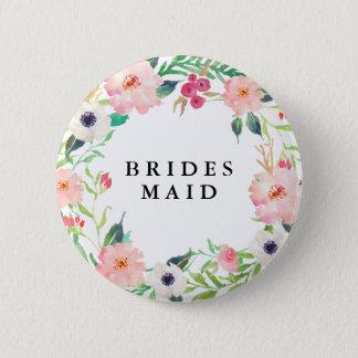 Spring Florals Bridesmaid Wedding 2 Inch Round Button