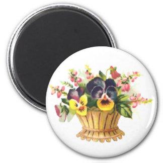 Spring Flower Basket 2 Inch Round Magnet