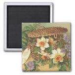 """""""Spring Flower Basket"""" Vintage Magnets"""