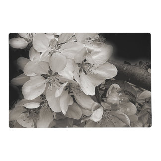 Spring Flower Blossoms In Black And White Laminated Place Mat