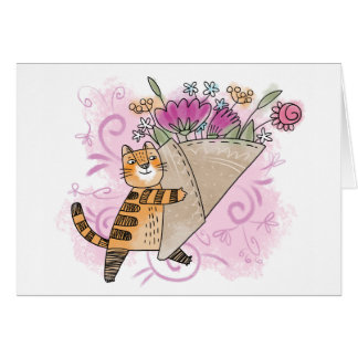 Spring flower cat card