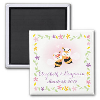 Spring Flower Cute Honey Bee Couple Pink Wedding Magnet