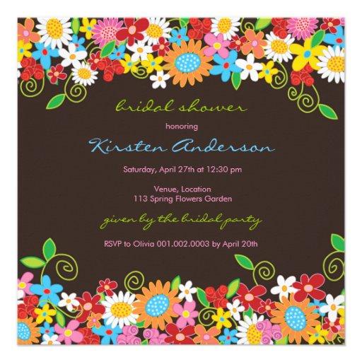Spring Flower Garden Daisies Bridal Shower Invite Announcement