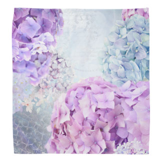 Spring Flower Hydrangea Pastel Collage Bandana