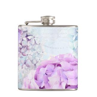 Spring Flower Hydrangea Pastel Collage Hip Flask