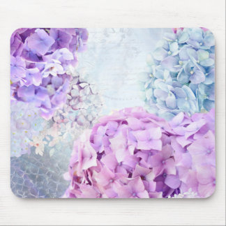 Spring Flower Hydrangea Pastel Collage Mouse Pad