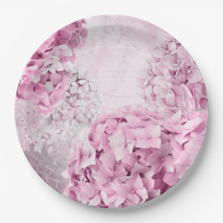 Spring Flower Hydrangea Pastel Collage Paper Plate