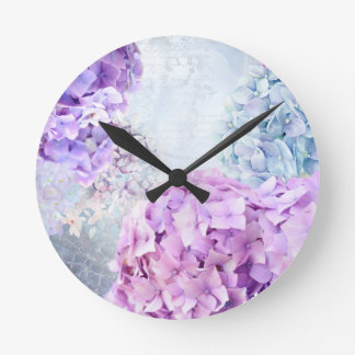 Spring Flower Hydrangea Pastel Collage Round Clock