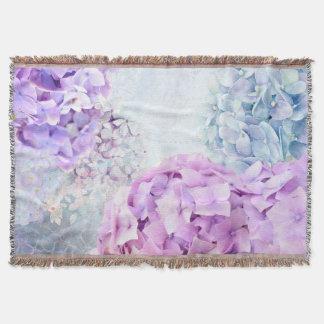 Spring Flower Hydrangea Pastel Collage Throw Blanket