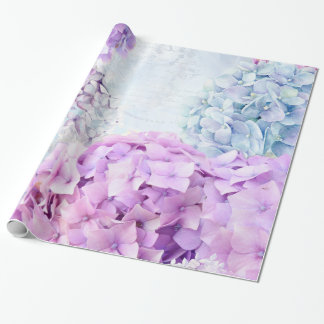 Spring Flower Hydrangea Pastel Collage Wrapping Paper