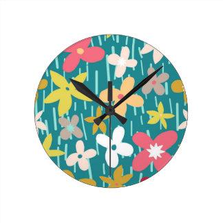 spring flower meadow round clock