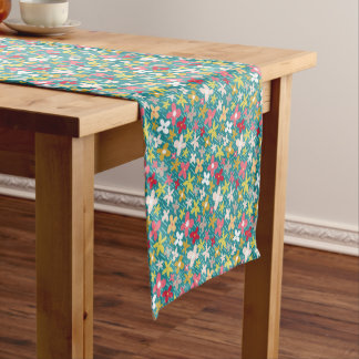 spring flower meadow short table runner