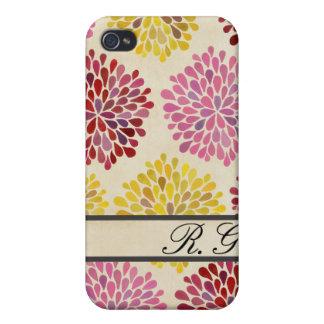 Spring Flower Pattern Designer Monogram Case iPhone 4 Cases
