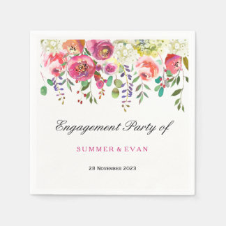 Spring Flower Pink Peach Tropical Engagement Party Disposable Napkins