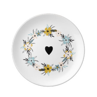 Spring Flower Wreath & Heart Easter Plates