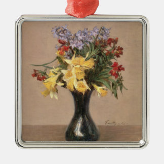 Spring Flowers, 1869 (oil on canvas) Silver-Colored Square Ornament