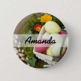 Spring Flowers and Basket of Easter Eggs 2 Inch Round Button