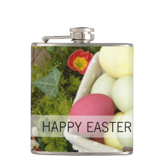 Spring Flowers and Basket of Easter Eggs Hip Flask