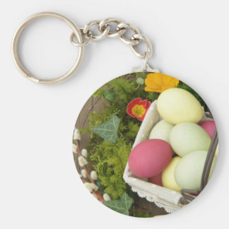 Spring Flowers and Basket of Easter Eggs Keychain