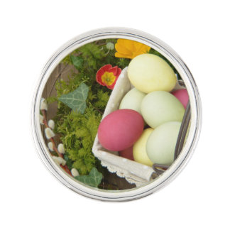 Spring Flowers and Basket of Easter Eggs Lapel Pin