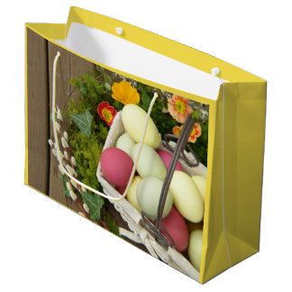 Spring Flowers and Basket of Easter Eggs Large Gift Bag