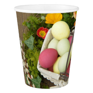 Spring Flowers and Basket of Easter Eggs Paper Cup