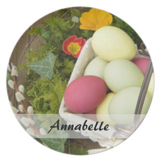 Spring Flowers and Basket of Easter Eggs Plate