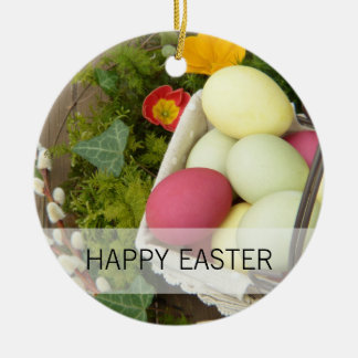 Spring Flowers and Basket of Easter Eggs Round Ceramic Ornament