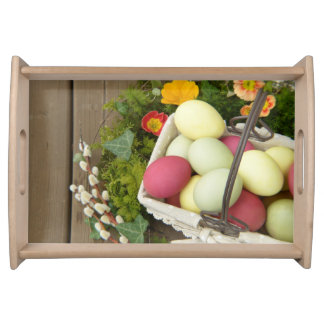 Spring Flowers and Basket of Easter Eggs Serving Tray