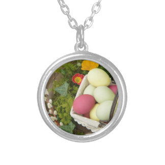 Spring Flowers and Basket of Easter Eggs Silver Plated Necklace