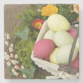 Spring Flowers and Basket of Easter Eggs Stone Coaster