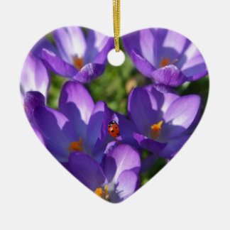 Spring flowers and ladybug ceramic heart ornament
