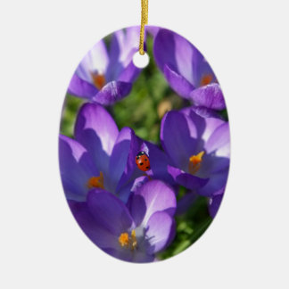 Spring flowers and ladybug ceramic oval ornament