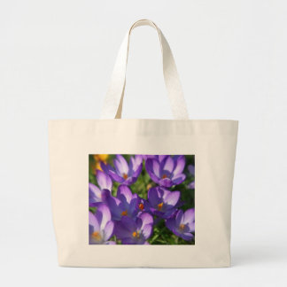 Spring flowers and ladybug large tote bag