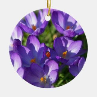 Spring flowers and ladybug round ceramic ornament