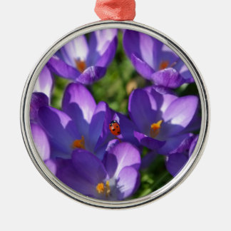 Spring flowers and ladybug Silver-Colored round ornament