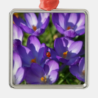Spring flowers and ladybug Silver-Colored square ornament