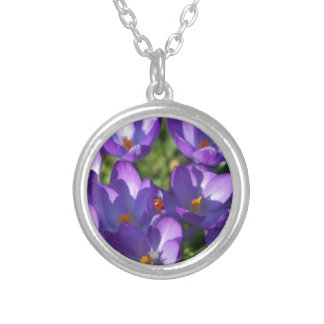 Spring flowers and ladybug silver plated necklace