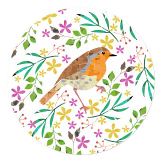 Spring flowers and robin bird card