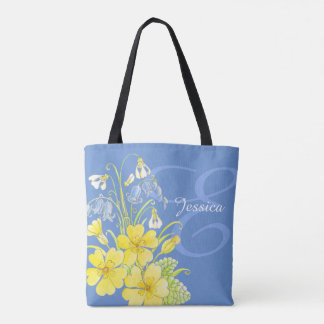 Spring flowers art custom name tote bag