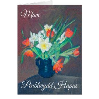 Spring Flowers Birthday Card, Mam: Welsh Greeting Card