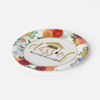 Spring Flowers Class Of 2017 In Gold Glitter 7 Inch Paper Plate
