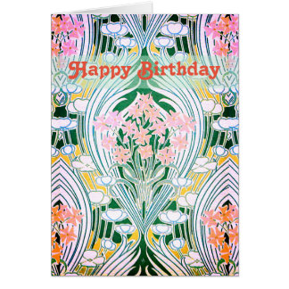 Spring Flowers Colourful Happy Birthday Card