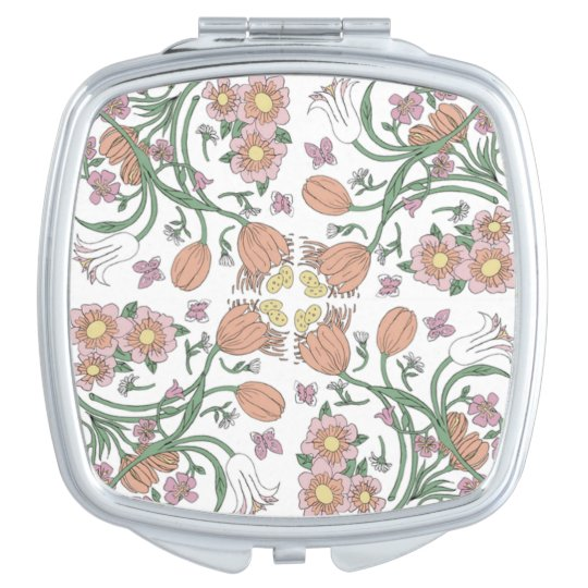 Spring Flowers Compact Makeup Mirror