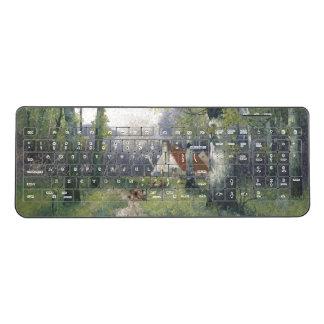 Spring Flowers Cottage in Trees Wireless Keyboard