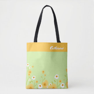 Spring Flowers | Custom Name Gift Tote Bags