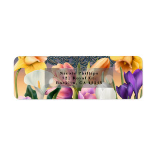 Spring Flowers Floral Elegant Chic Blue Invitation Return Address Label