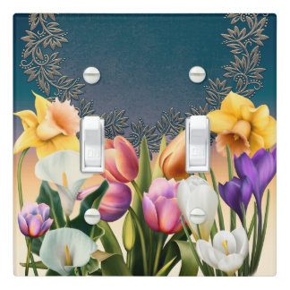 Spring Flowers Floral Frame Elegant Chic Blue Light Switch Cover