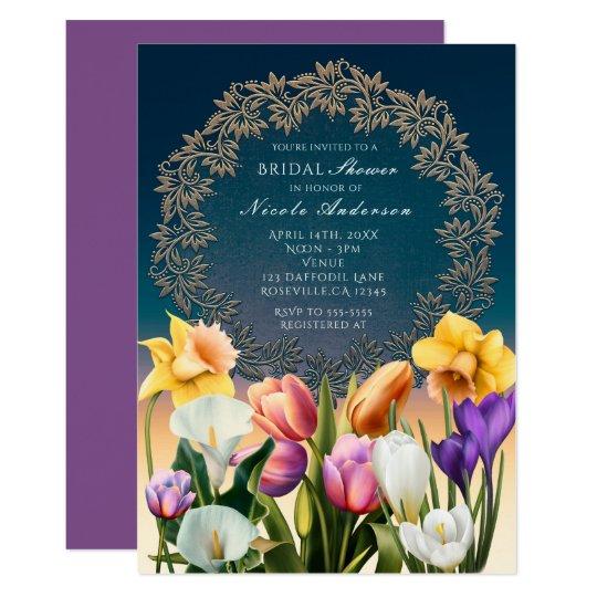 Spring Flowers Floral Frame Elegant Invitations